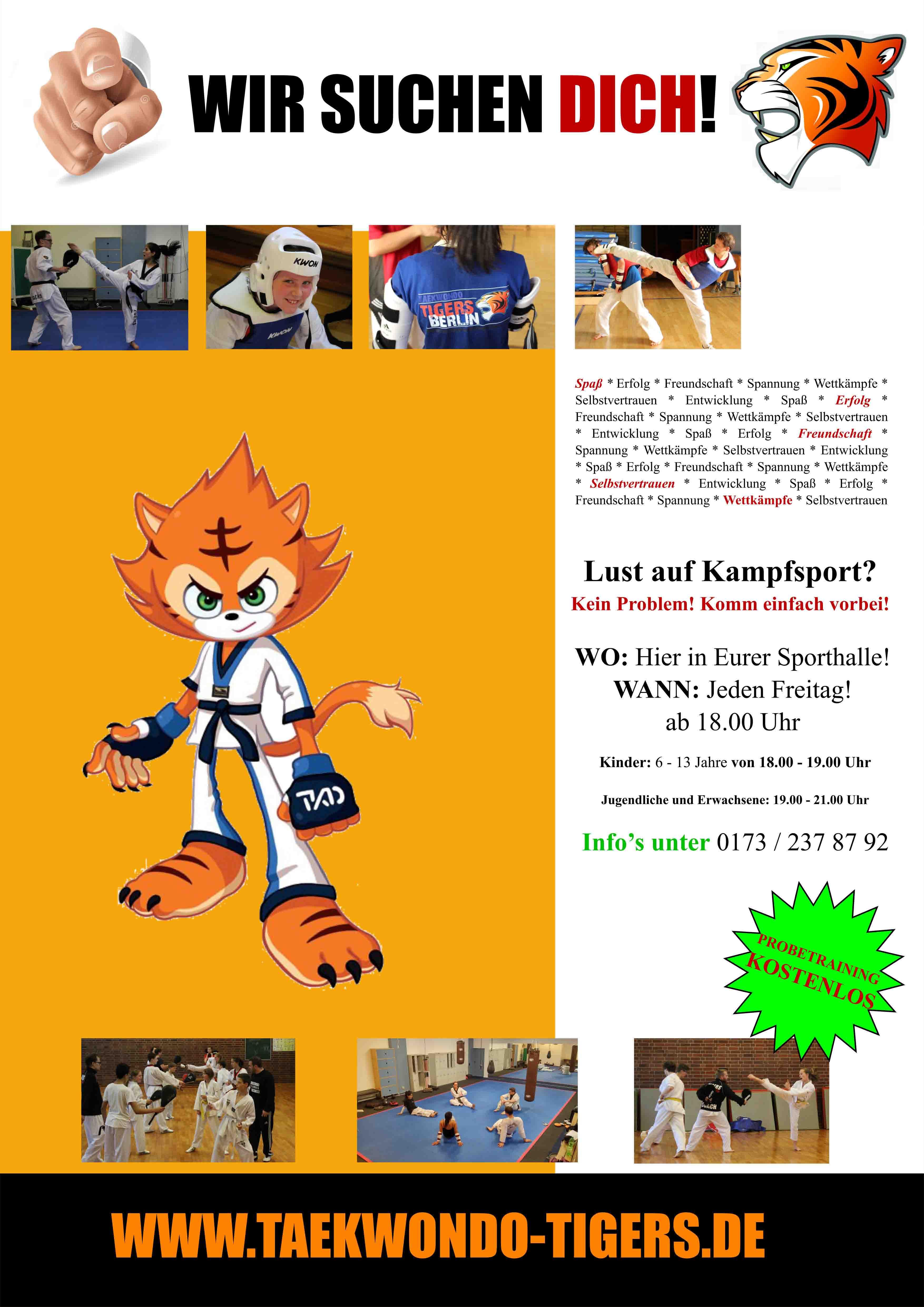 WIR SUCHEN DICH - Taekwondo Tigers Berlin Wedding Poster